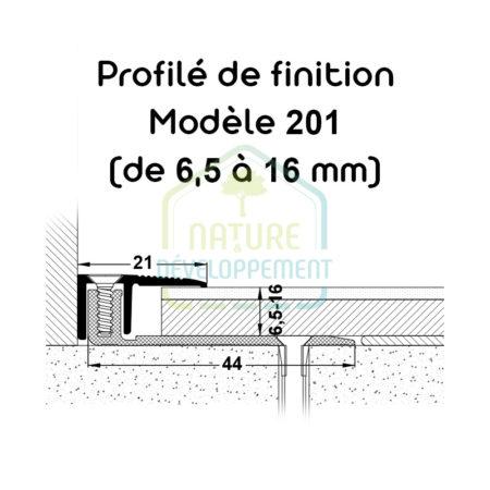 Barre finition pour baie vitrée, Profilé de finition Modèle 201 MEISTER