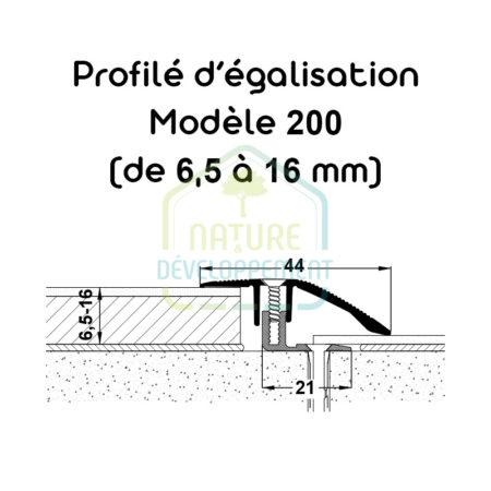 Barre pour égaliser le niveau entre 2 sols, Profilé d'égalisation Modèle 200 MEISTER